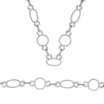 Дамски сребърен комплект Етно колие и гривна 3584