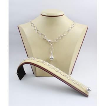 Дамски сребърен комплект Милена Ажур 1 колие и гривна 3587