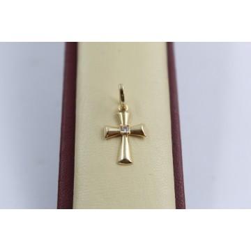 Златен кръст за кръщене с бял камък 3600