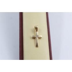 Златно детско кръстче за кръщене жълто злато бял камък 3602