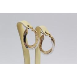 Златни дамски обеци гравирани бяло жълто злато 3619