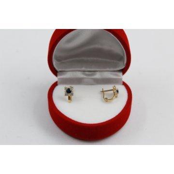 Златни детски обеци цветя жълто злато бели и лилави камъни 3620