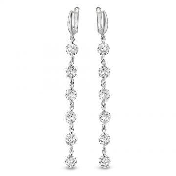 Дамски сребърни висящи обеци с бели камъни 3623