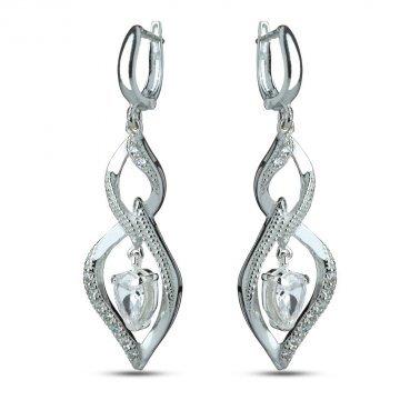 Дамски сребърни обеци с бели камъни 3626
