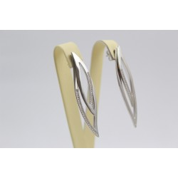 Дамски сребърни родирани обеци с камъни 3628