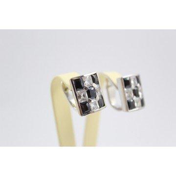 Дамски сребърни родирани обеци бели черни камъни 3629