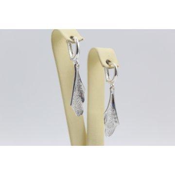 Дамски сребърни обеци с бели камъни 3629