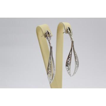 Дамски сребърни висящи обеци на винт 3639