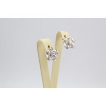 Дамски сребърни обеци Цветя 3632