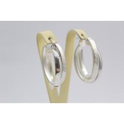 Дамски сребърни обеци гравирани продълговати халки 3634