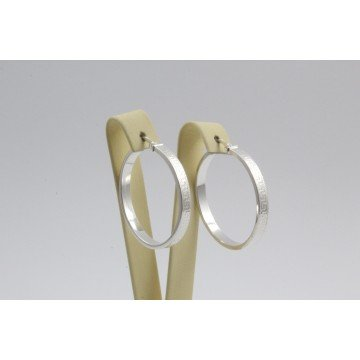 Дамски сребърни обеци гравирани халки 3634