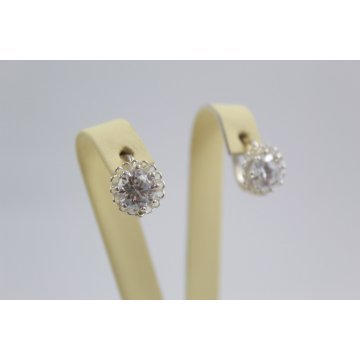 Дамски сребърни обеци с бели циркони Цветулки 3636