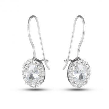 Дамски сребърни обеци с бели циркони 3636