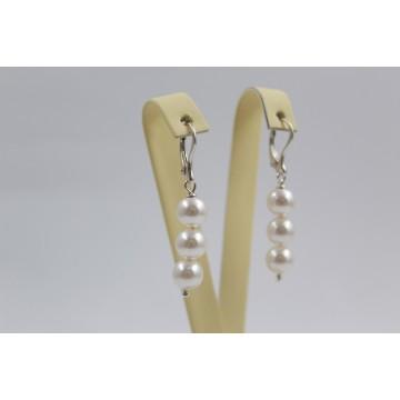 Дамски сребърни обеци перли Swarovski 3637
