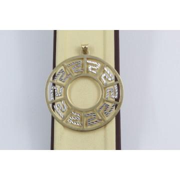 Дамски златен медальон бяло жълто злато 3638