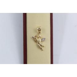 Дамски златен медальон ангел бяло жълто злато 3640