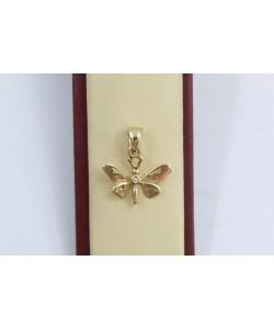 Дамски златен медальон пеперуда жъто злато бял камък 3641