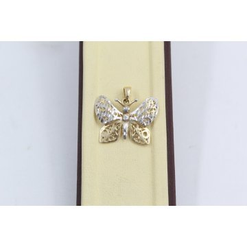 Дамски златен медальон пеперуда жълто и бяло злато 3641