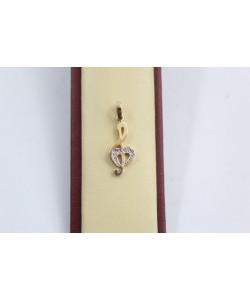 Дамски златен медальон ключ сол бяло жълто злато бели камъни 3643