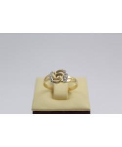 Дамски златен пръстен бяло жълто злато бели камъни 3646