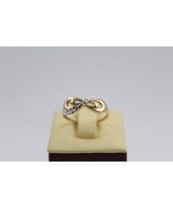 Дамски златен пръстен безкрайност бяло жълто злато 3647