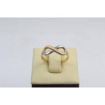 Дамски златен пръстен безкрайност жълто и бяло злато 3648