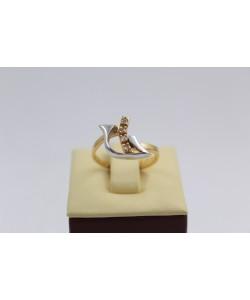 Дамски златен пръстен бяло жълто злато бели камъни 3649