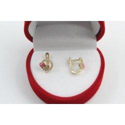 Детски златни обеци сърца жълто злато бели камъни 3651