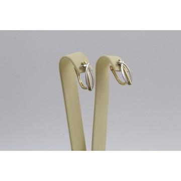 Златни женски обеци жълто и бяло злато 3653