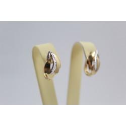 Златни женски обеци бяло и жълто злато 3654