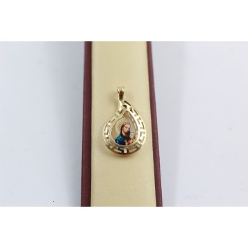 Дамски златен медальон богородица жълто злато 3664