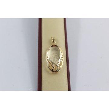 Дамски златен медальон богородица елипса жълто злато 3665
