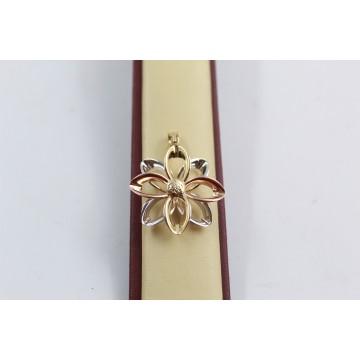 Дамски златен медальон цвете бяло розово жълто злато 3666