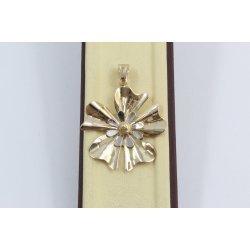 Дамски златен медальон цвете бяло жълто злато 3667