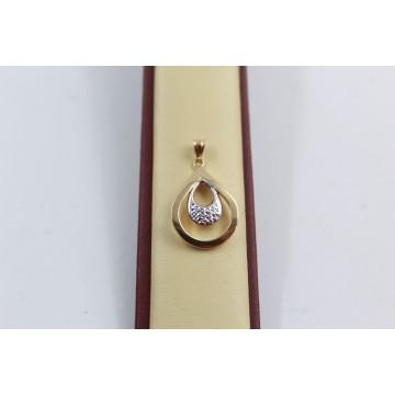 Дамски златен медальон капка бяло жълто злато 3668