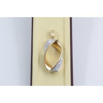 Дамски златен медальон бяло жълто злато 3668