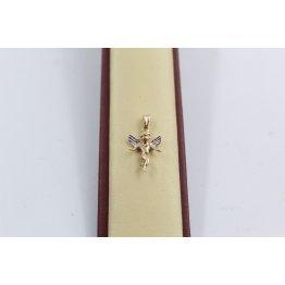 Дамски златен медальон ангел бяло жълто злато 3669
