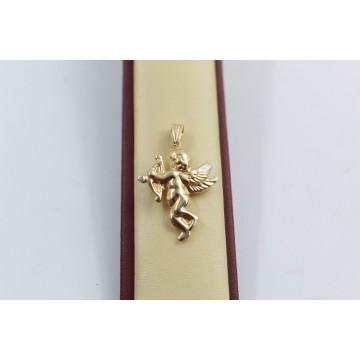 Дамски златен медальон ангел бяло жълто злато 3670