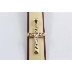 Дамски златен медальон кръст с разпятие гравиран бяло жълто злато 3672