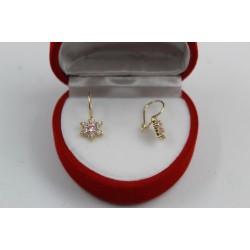 Детски златни обеци цветя бели розови камъни жълто злато 3676