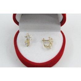 Детски златни обеци цветя бели камъни жълто злато 3676