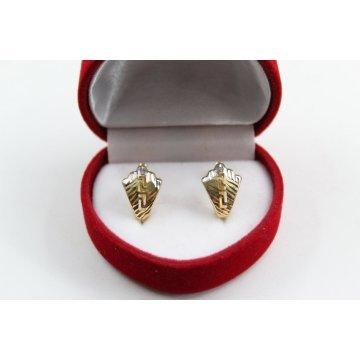 Дамски златни обеци английско закопчаване бяло жълто злато 3679