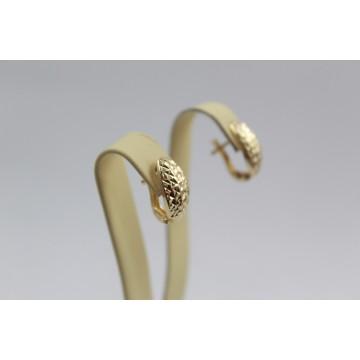 Дамски златни обеци гравирани халки жълто злато 3680