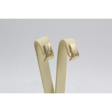 Дамски златни обеци гравирани жълто бяло злато 3680
