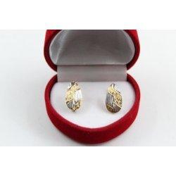 Дамски златни обеци жълто и бяло злато 3680