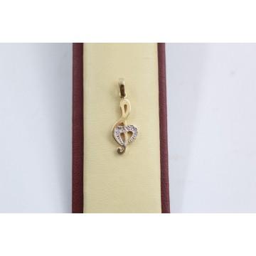 Дамски златен медальон ключ сол жълто злато бели камъни 3681
