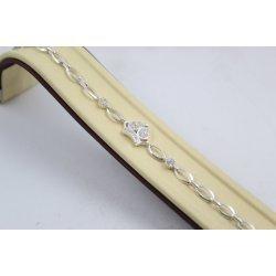Дамска сребърна гривна с бели камъни Коронка 3711
