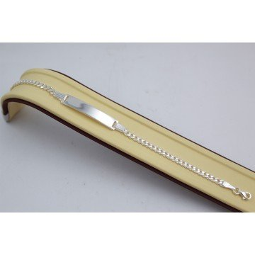 Сребърна гривна панцер с плочка 3712