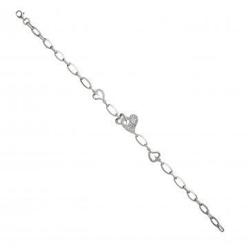 Дамска сребърна гривна с бели камъни Сърца 3718
