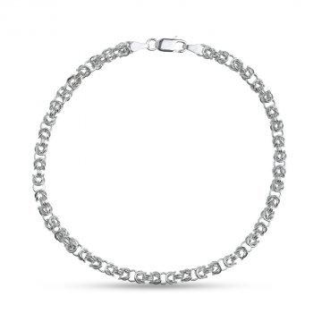 Дамска сребърна гривна кралска плетка 3729